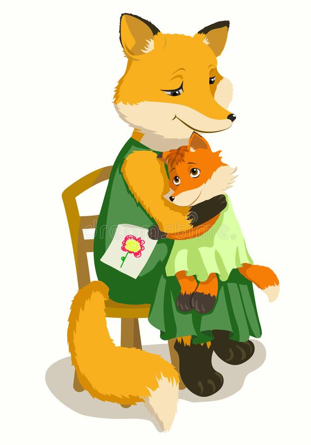 Mother Fox and daughter Fox. Mother Fox hugs her daughter, looks at her with love and thanks for the picture. Nice illustration, vector drawing suitable for vector illustration