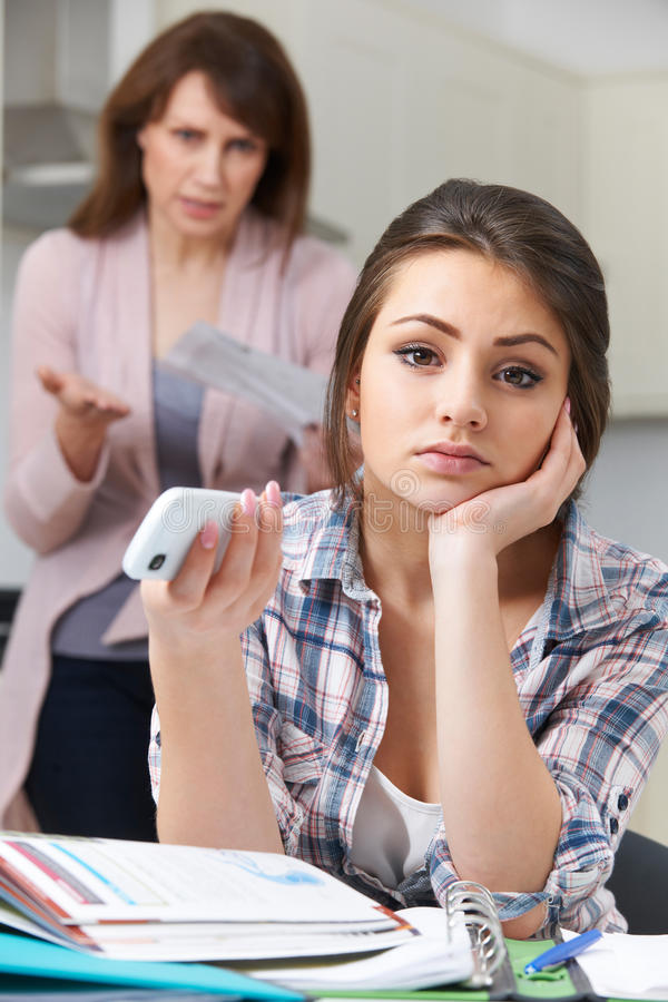 Mother Frustrated With Teenage Daughter And Her Lifestyle stock photo