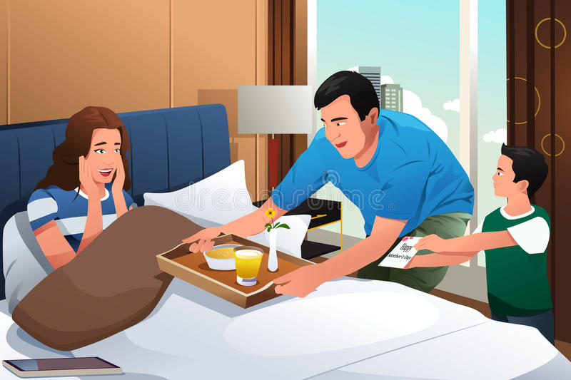 Mother Getting Breakfast in Bed Surprise on Mothers Day royalty free illustration