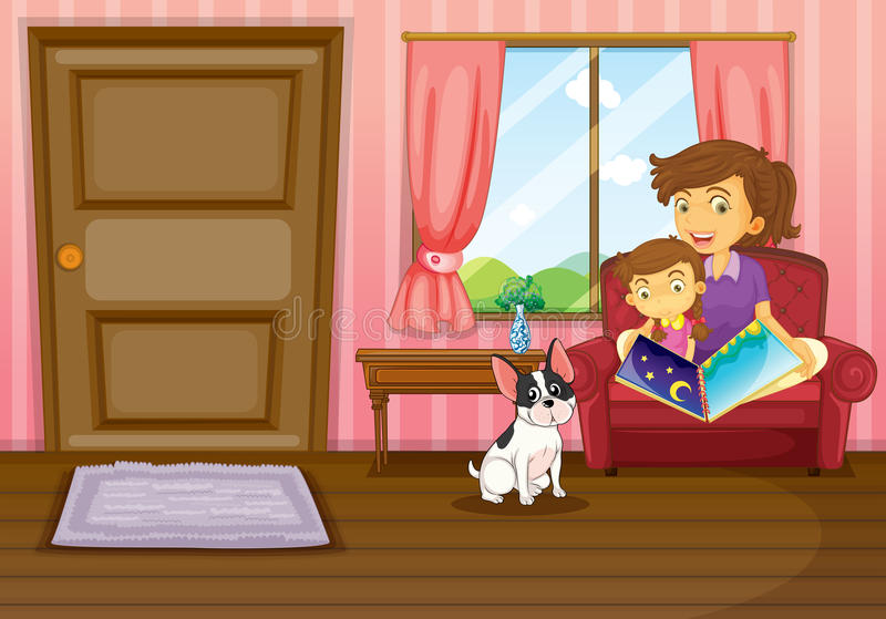 A mother and a girl reading with a dog inside the house royalty free illustration