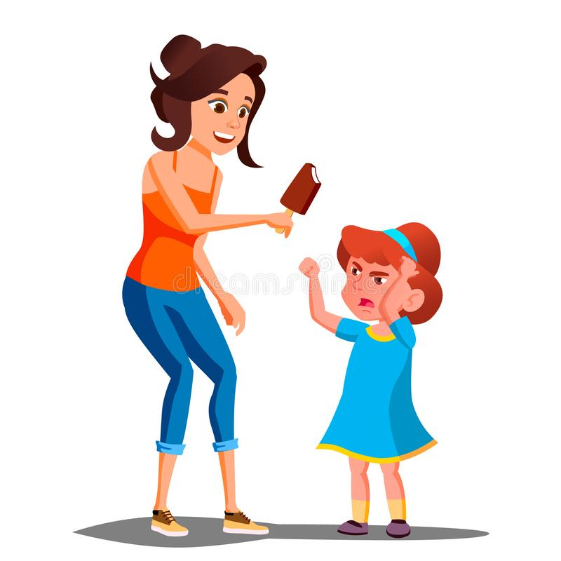 Mother Gives Ice Cream To A Crying Child Vector. Isolated Illustration vector illustration
