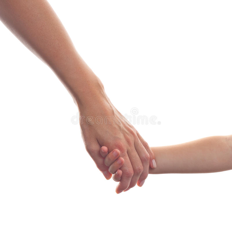Mother giving a hand to a child royalty free stock photography