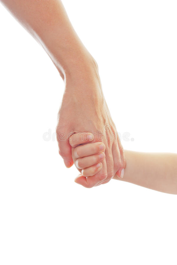 Mother giving a hand to a child stock photography