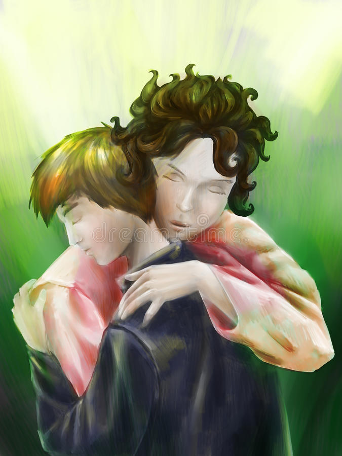 Mother giving her son a hug royalty free illustration