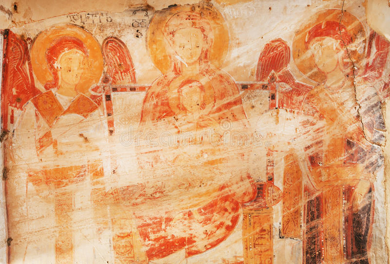 Mother of God and angels on ancient fresco of the 6th century David Gareja cave monastery, Georgia. KAKHETII, GEORGIA - OCT 8: Mother of God and angels on royalty free stock photography