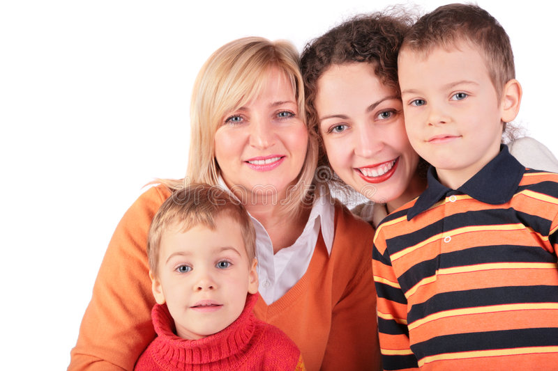 Mother, GrandMother, daughter, son. On white royalty free stock photo
