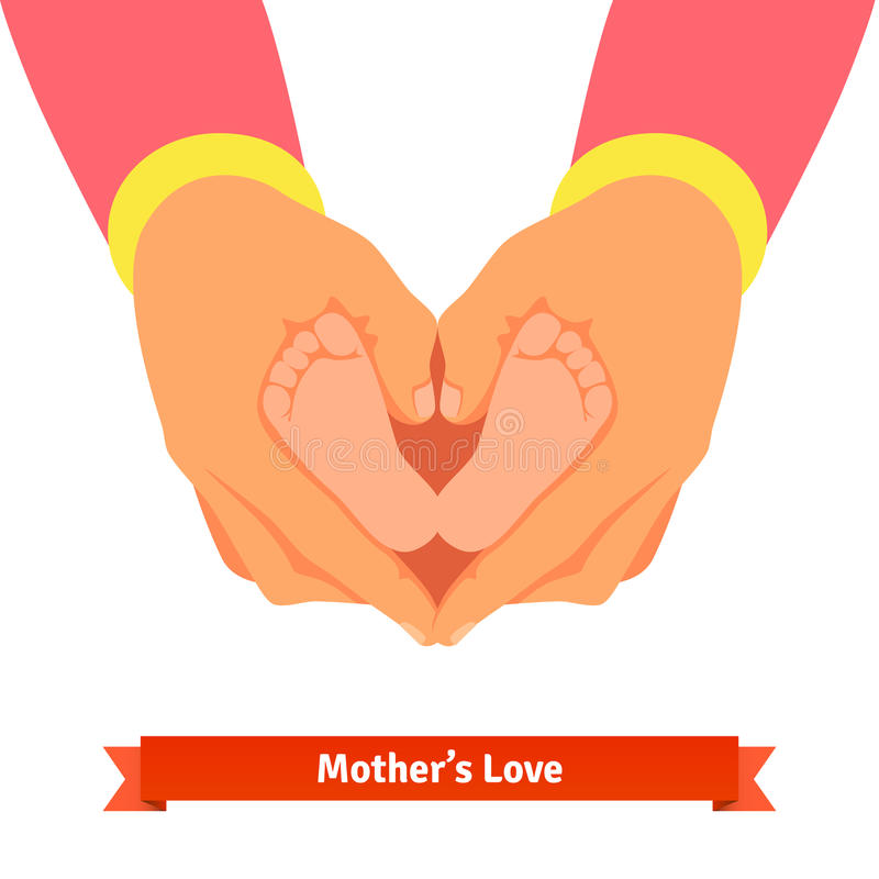 Mother hands holding newborn baby foots royalty free illustration
