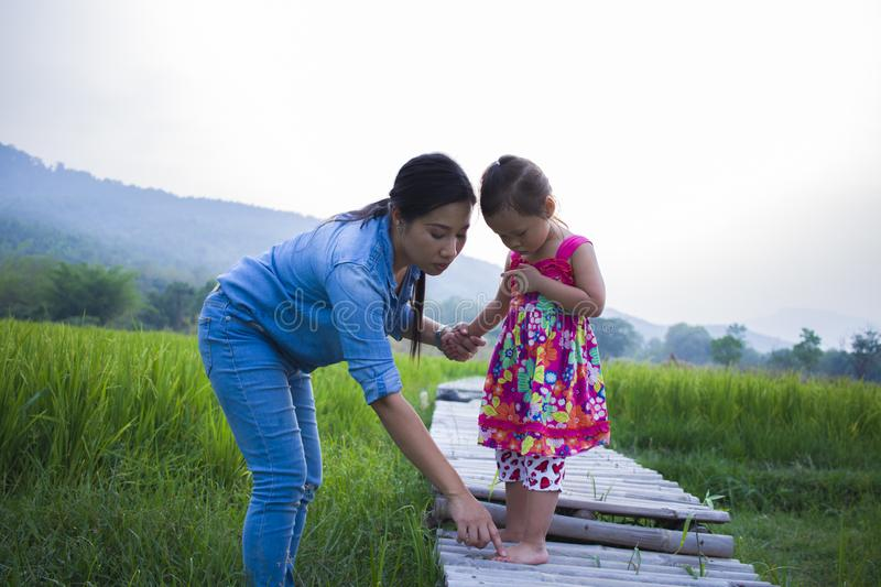 Mother help her child to cross stream, mother lifting daughter in rice field royalty free stock image