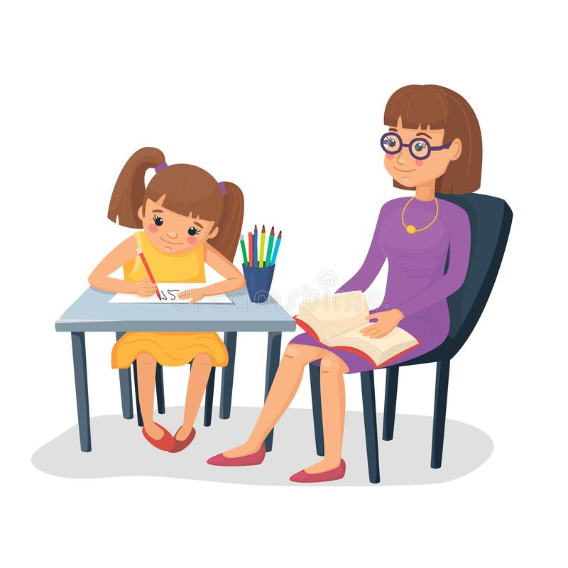 Mother helping her daughter with homework. Girl doing schoolwork with mom or teacher. Vector illustration. vector illustration