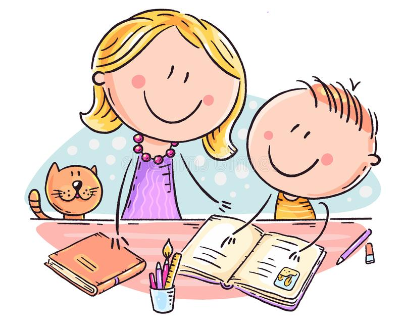 Mother helping her son with the homework. Doodle drawing stock illustration