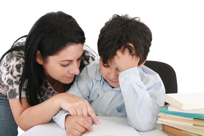Mother helping with homework to her son