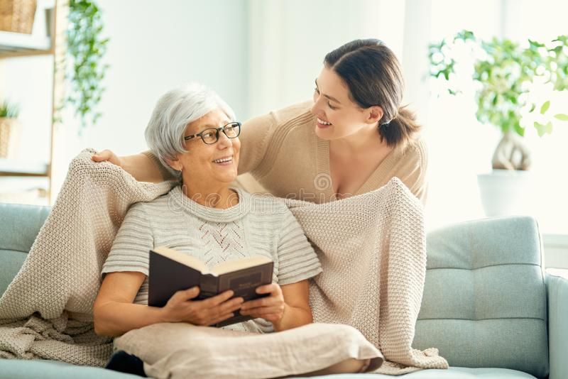 Mother and her adult daughter royalty free stock images