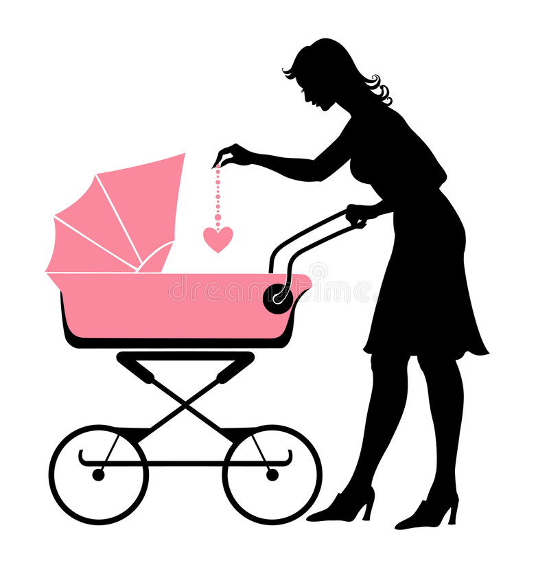 The mother and her baby. Vector illustration of the walking mother, pushing the stroller and playing with her baby royalty free illustration