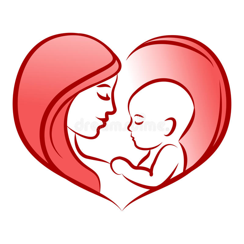 Mother with her baby, heart, outline vector silhouette, mother care icon. royalty free illustration