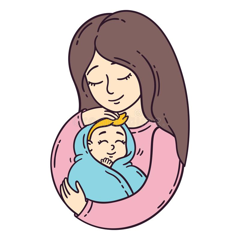 Mother and her baby. Isolated objects on white background. Vector illustration. vector illustration
