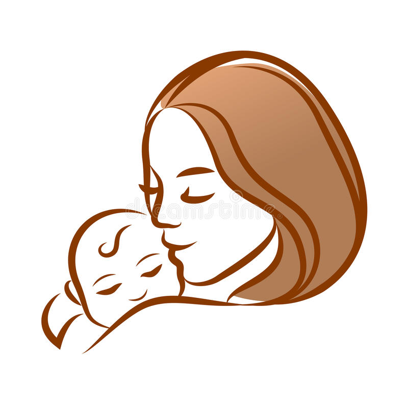 Mother with her baby, outline vector silhouette, mother care icon. stock illustration