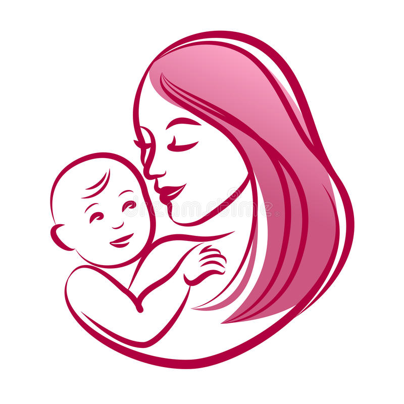Mother with her baby, outline vector silhouette, mother care icon. royalty free illustration