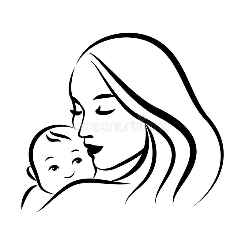 Mother with her baby. Stylized outline symbol. Motherhood, love stock illustration