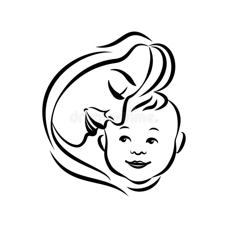 Mother with her baby. Stylized outline symbol. Motherhood, love vector illustration