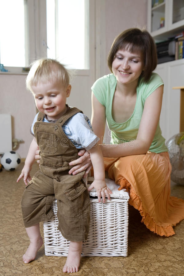 Mother And Her Blond Son Have A Fun Stock Photography