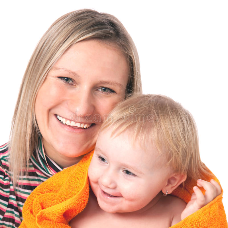 Mother with her child. Mother with her chil on white background stock image