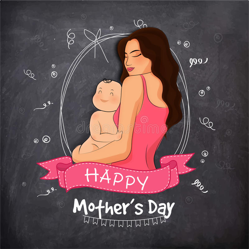 Mother with her child for Mother's Day celebration. stock illustration