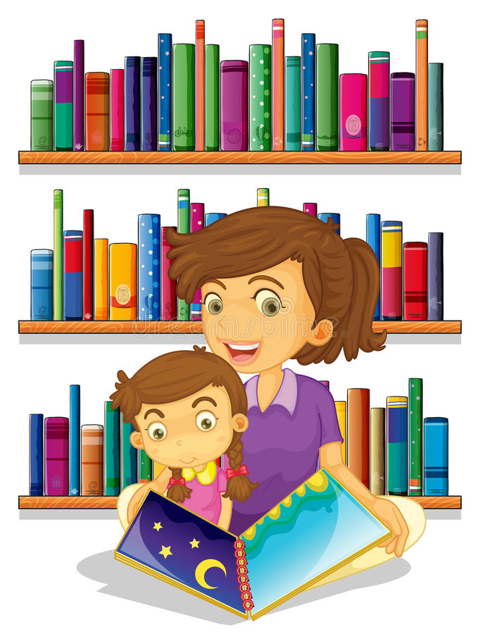 A mother with her daughter reading a book stock illustration