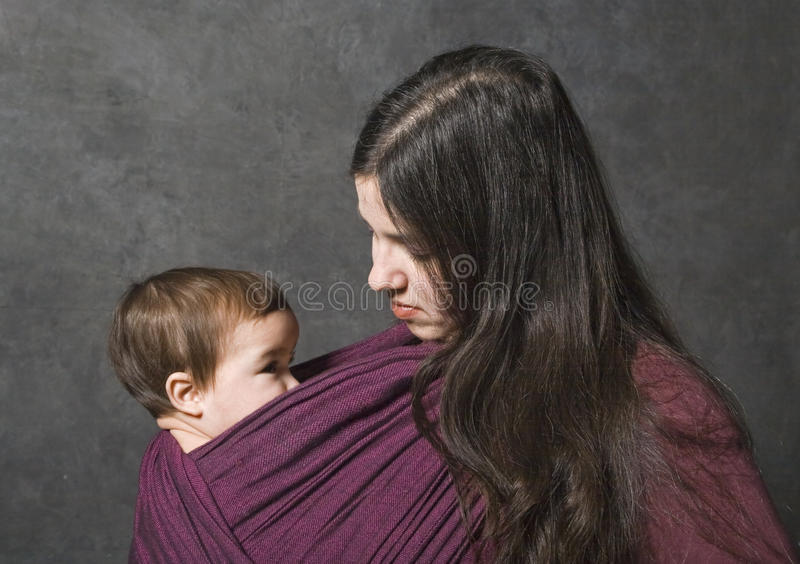 Download Mother With Her Daughter In Sling Stock Photo - Image: 14597760