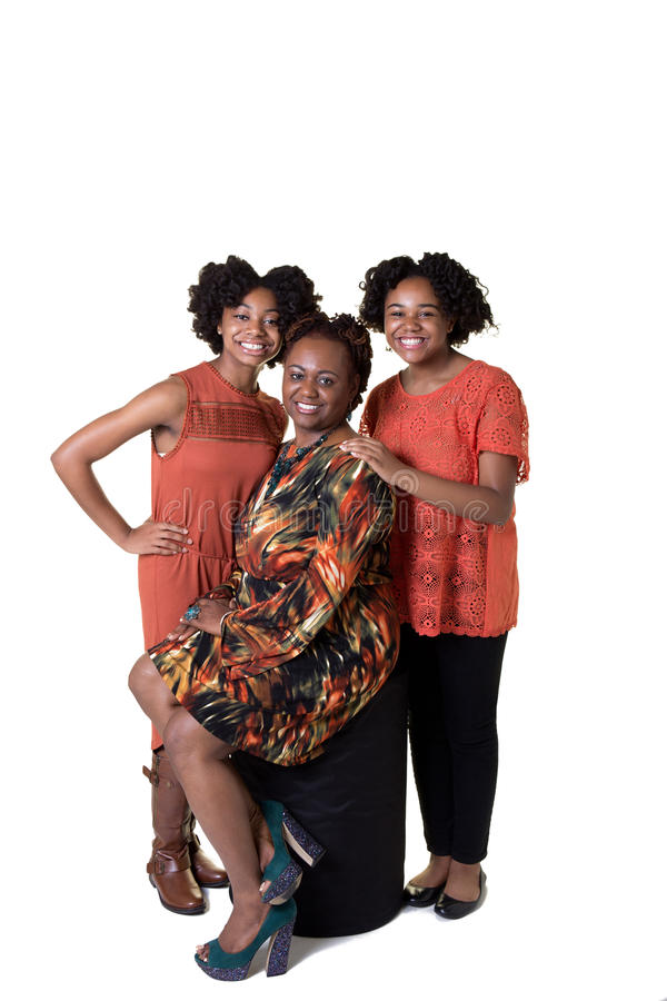 A mother and her 2 daughters stock photos