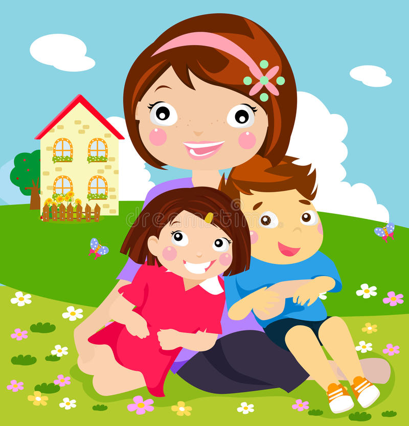Download Mother and her kids stock vector. Image of flower, brother - 20867089