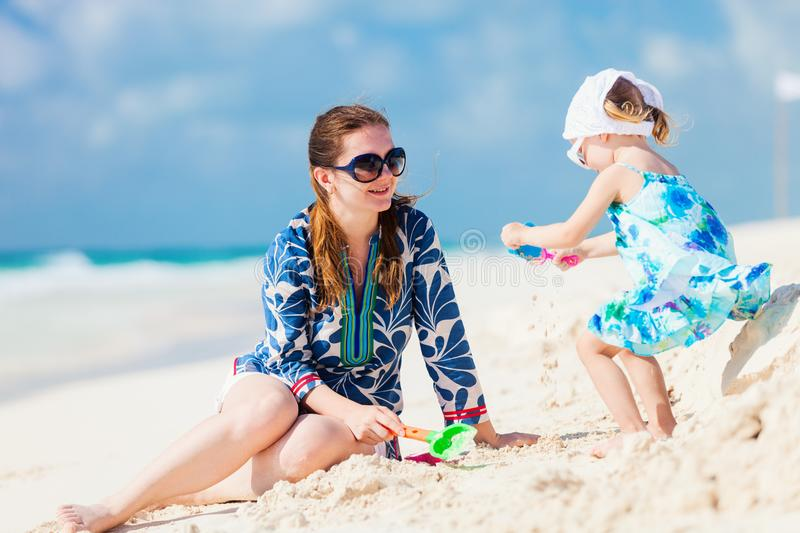Mother and daughter on vacation stock images