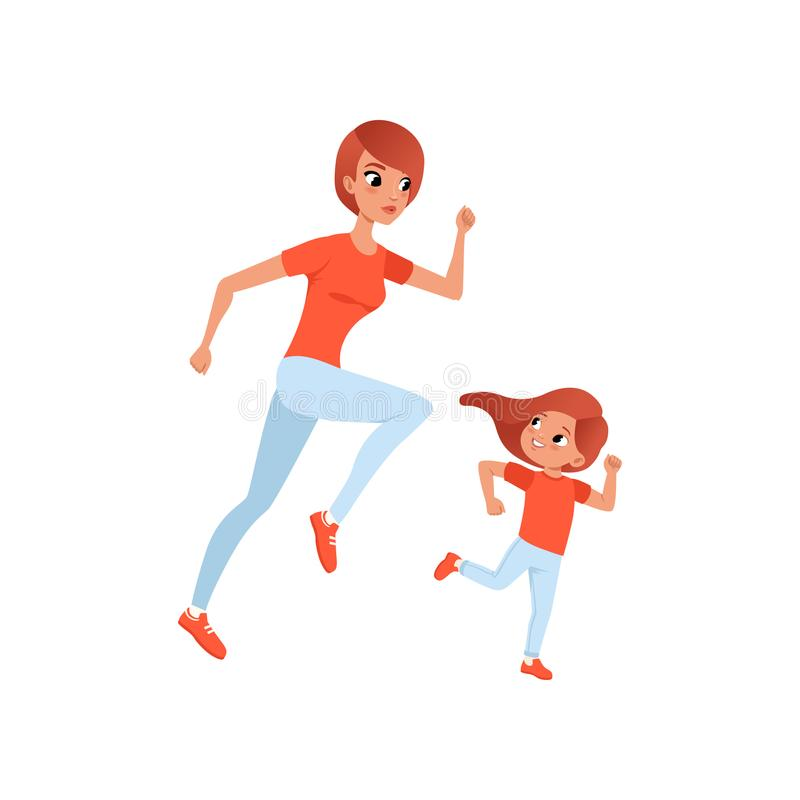 Mother and her little daughter on morning jogging. Physical activity and healthy lifestyle concept. Mom and child in. Sports pants and t-shirt. Colorful flat royalty free illustration
