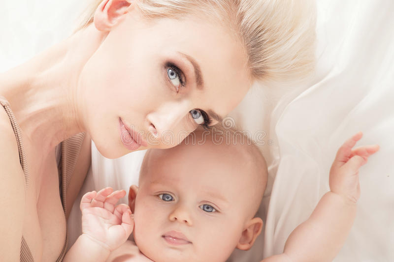 Mother with her 6 months son. stock image