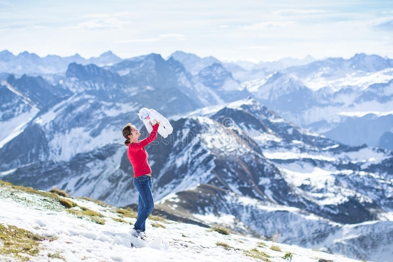Download Mother With Her Newborn Baby In Snow Mountains Stock Photo - Image: 41527658