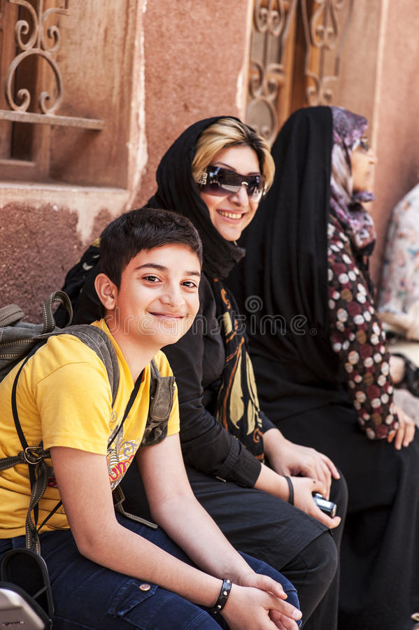 Mother and her son,abyaneh in kashan stock photo