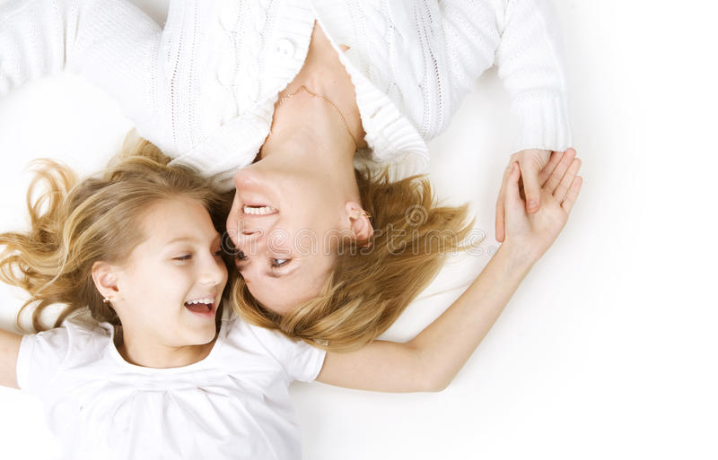 Mother and her teenage Daughter stock photo