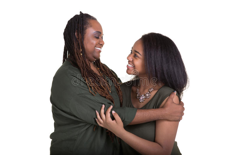 A mother and her teenage daughter stock image