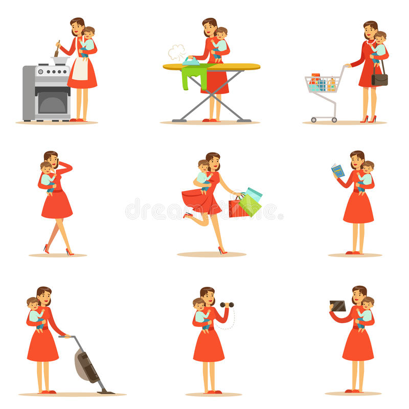 Mother Holding Baby In Arms Doing Different Activities Series Of Illustrations With Supermom And Her Duties vector illustration