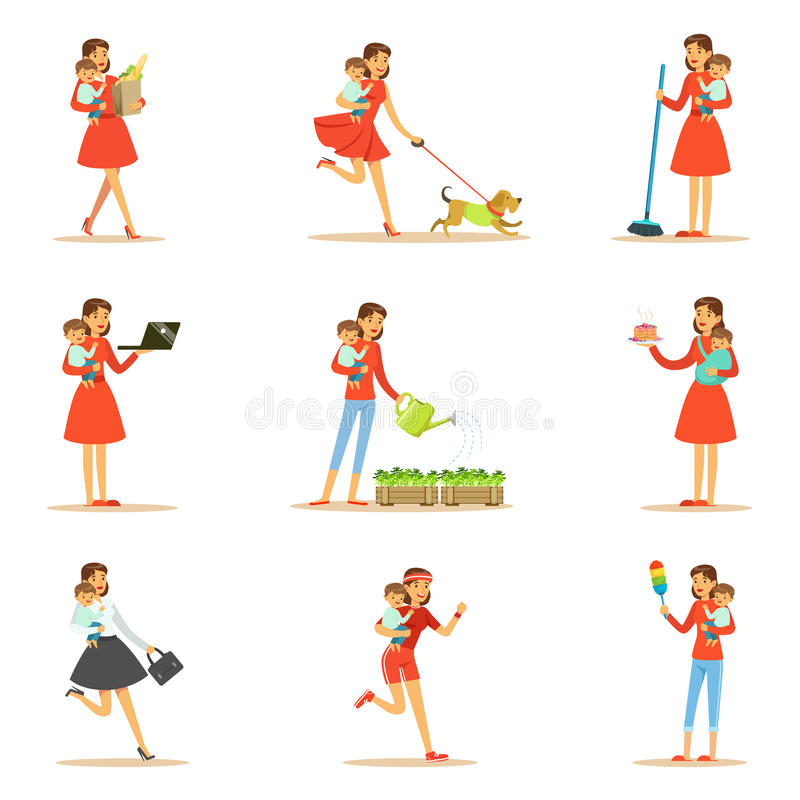 Mother Holding Baby In Arms Doing Different Activities Set Of Illustrations With Supermom And Her Duties. Young Mom With Kid Managing To Do Everything vector illustration