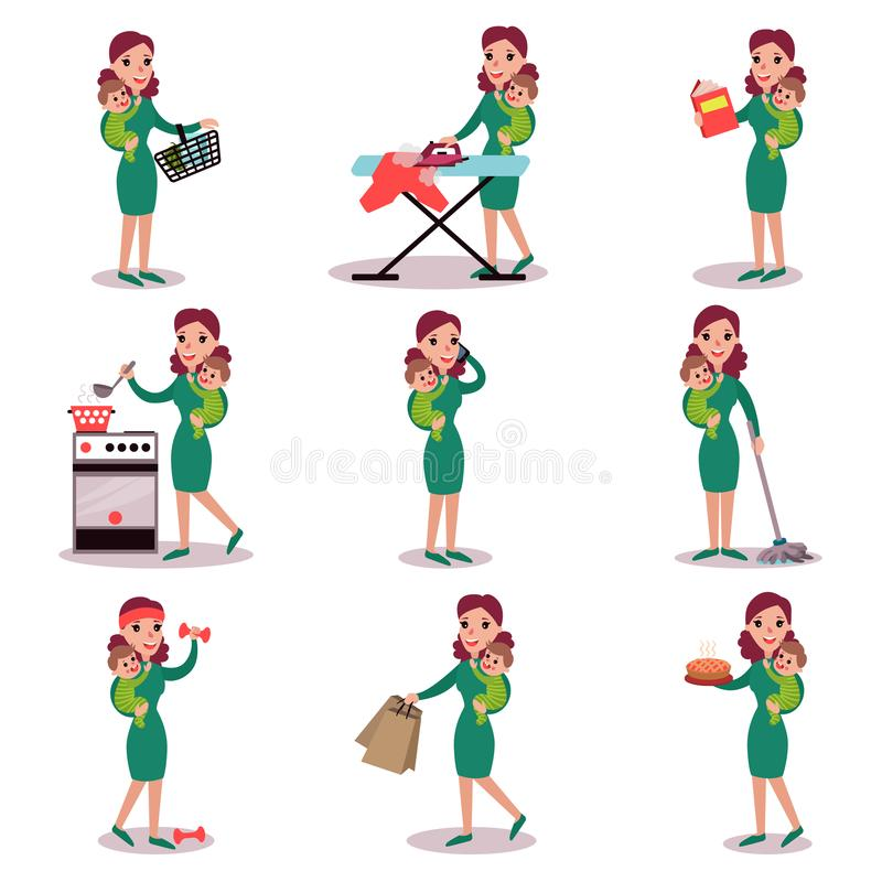 Mother holding baby in her arms and doing different activities, super mom concept, vector Illustrations. Isolated on a white background royalty free illustration