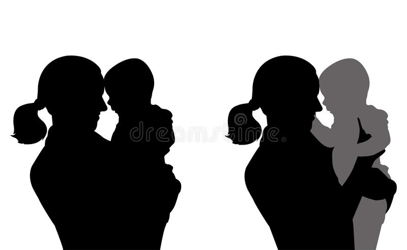 Mother holding baby silhouettes royalty free illustration