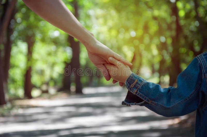 mother holding a child`s hand, close-up hands, nature in backgr royalty free stock photos