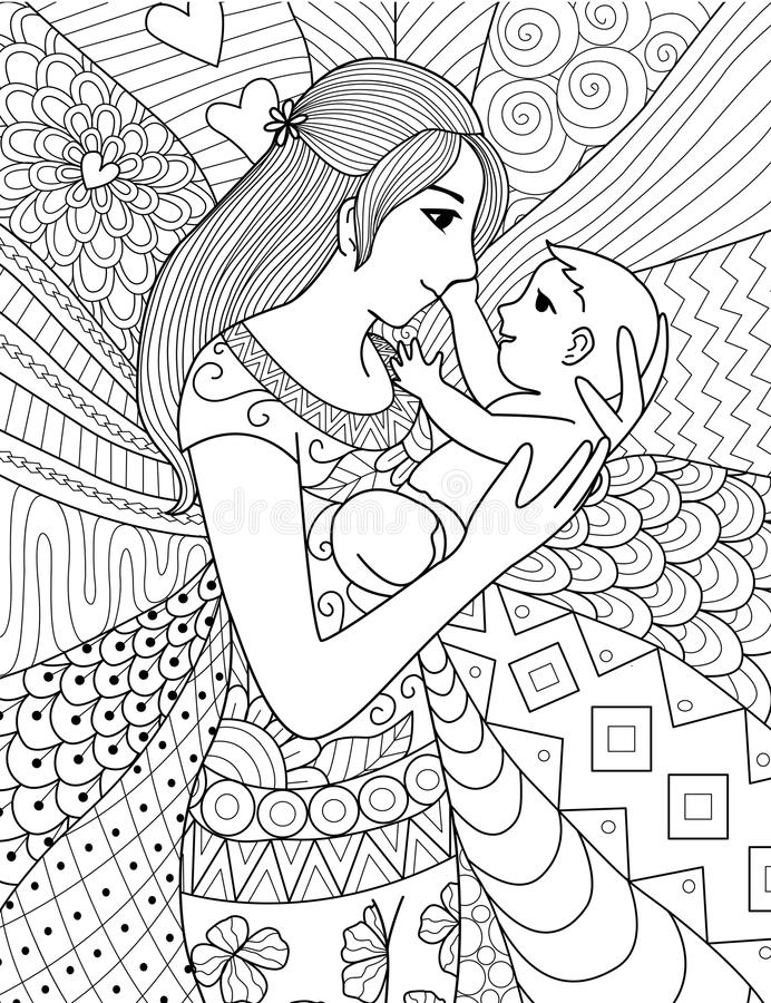 Mother holding her baby, clean line doodle art design stock illustration
