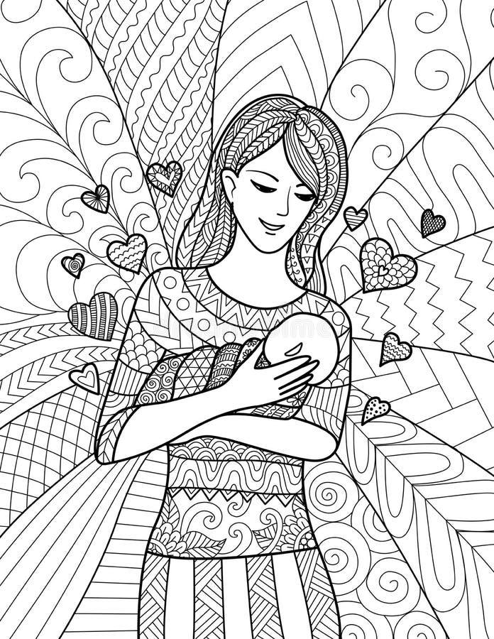 Mother Holding Her Baby, Clean Line Doodle Art Design Stock Vector ...