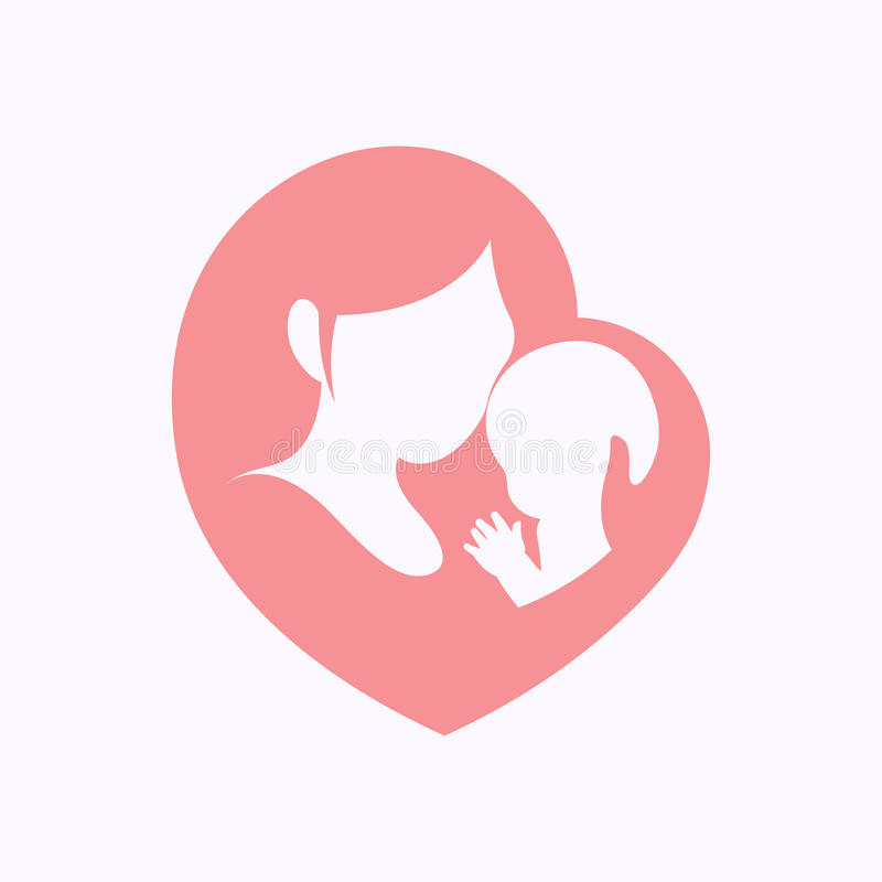 Mother holding her little baby in heart shaped silhouette stock illustration