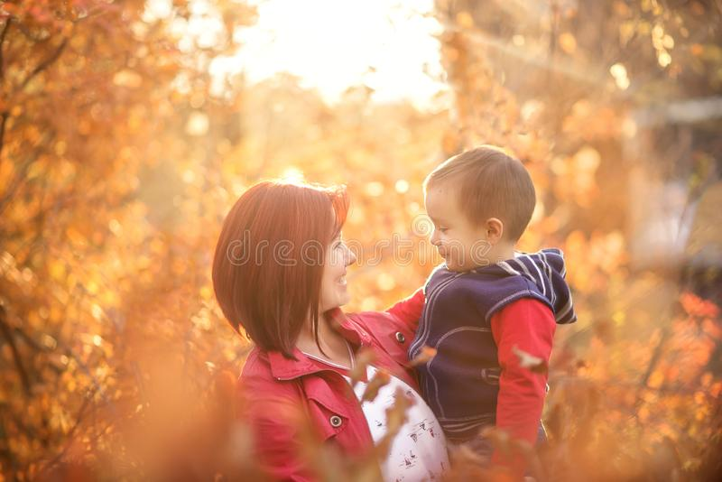 Mother holding little son in arms standing in autumn park in evening sun light. Happy family stock photos