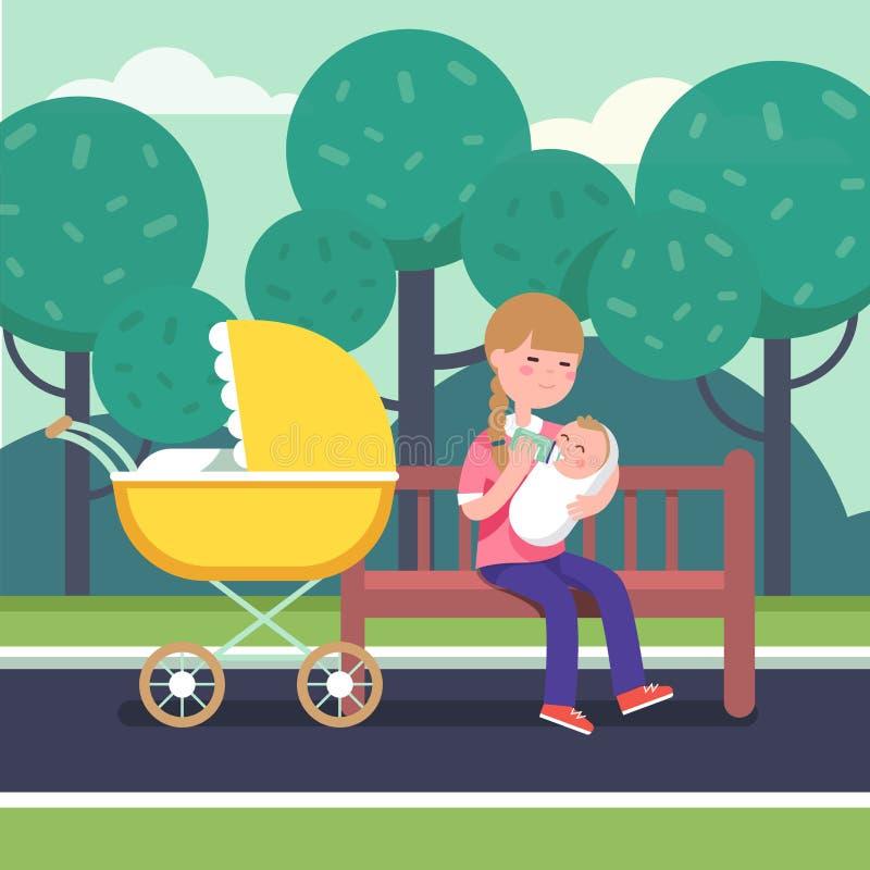 Mother holding swaddled baby and feeding him royalty free illustration