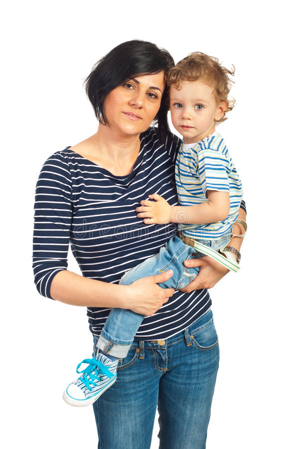 Download Mother holding toddler boy stock photo. Image of beautiful - 30756458