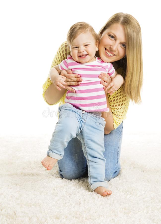 Mother and Kid Girl, Happy Mom with Baby Daughter, Infant Child stock photo