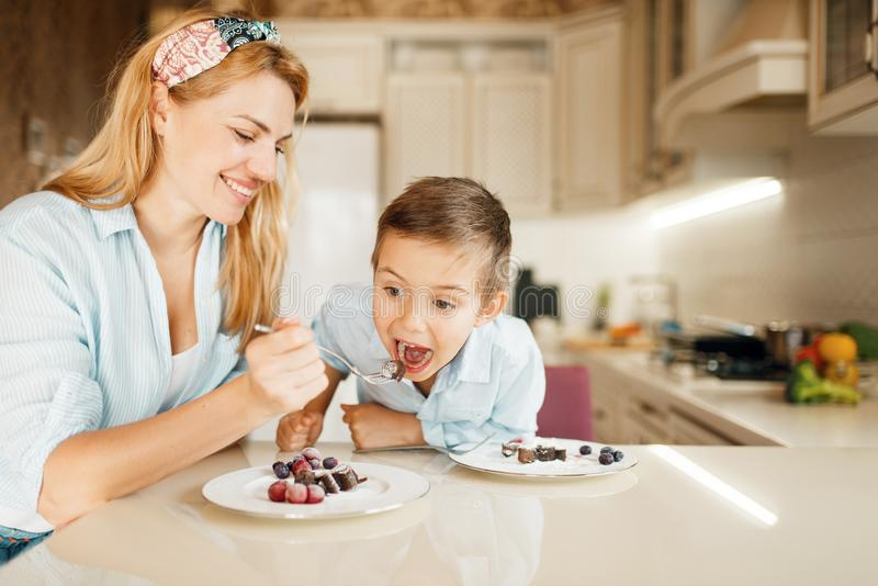 Mother with kid tasting dessert and having fun. Young mother with her kid tastes chocolate pastry. Cute women and little boy cooking on the kitchen. Happy family stock image